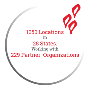 1050 Locations in 28 States. Working with 229 Partner  Organizations