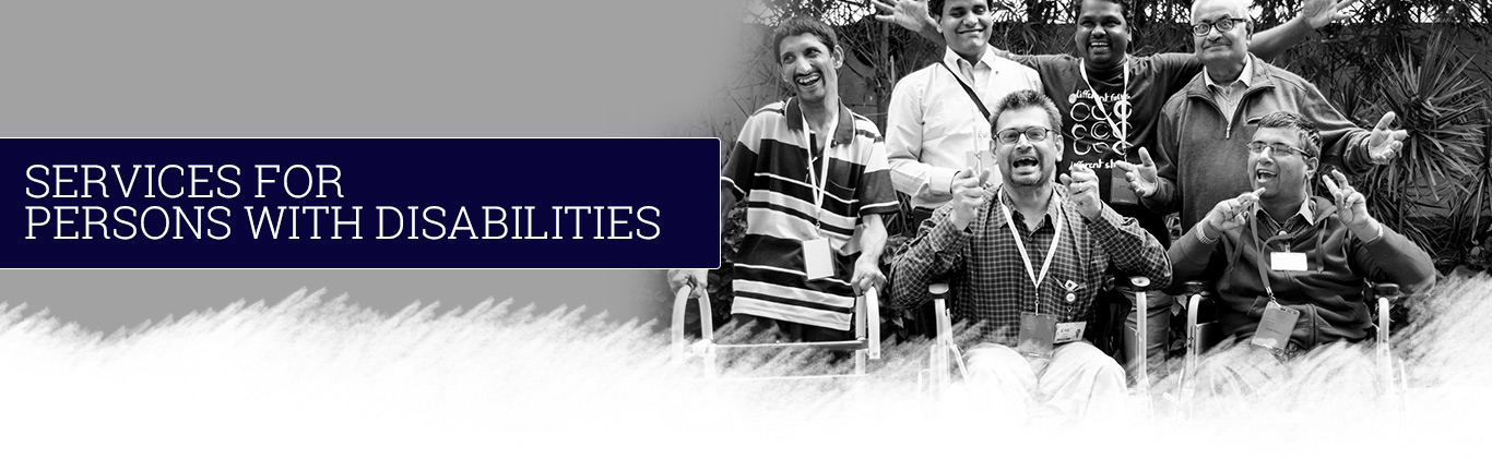 Smiling group of people with various disabilities