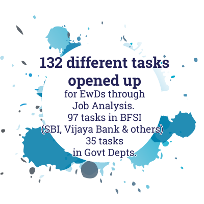 132 different tasks opened up for EwDs through Job Analysis. 97 tasks in BFSI (SBI, Vijaya Bank & others)  35 tasks in Govt Depts.