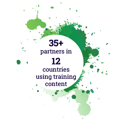 35+ partners in 12 countries using training content