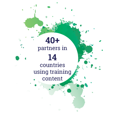40+ Partners & 14 countries using Training Content