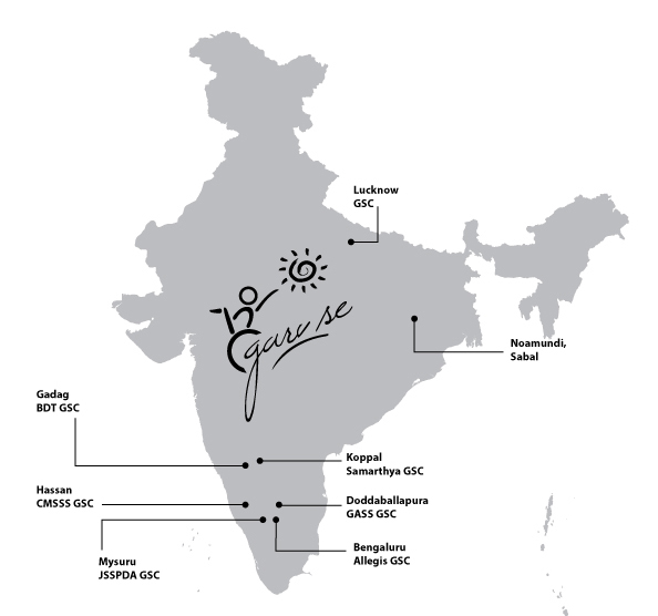 India Map with GarvSe Center Locations