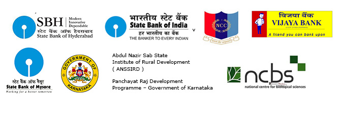 Logos - State Bank of Hyderabad, State Bank of Mysore, State Bank of India, Guv of Karnataka, NCBS, National Cadet Corps; Vijaya Bank, Abdul Nazir Sab State Institute of Rural Development ( ANSSIRD ), Panchayat Raj Development Programme – Guv of Karnataka
