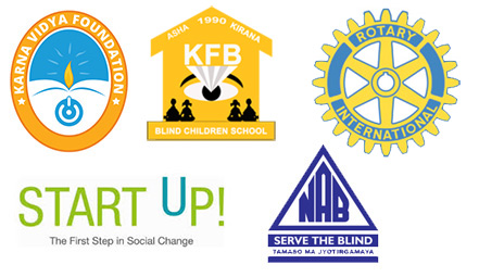 Logos - Karna Vidya Foundation, Asha Kirana KFB, Rotary International, Start Up, NAB