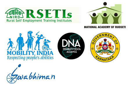 Logos - NIRD RSETIs, National Academy of RUDSETI, Mobility India, DNA, Guv of Karnataka, Swabhiman