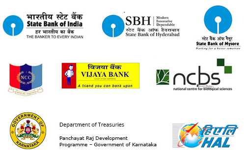 Logos - State Bank of India; State Bank of Hyderabad; State Bank of Mysore; National Cadet Corps; Vijaya Bank; National Centre for Biological Sciences; Govt. of Karnataka- Department of Treasuries,Rural Development and Panchayat Raj; Hindustan Aeronautics Limited