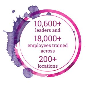 10,600+ leaders and 18,000+ employees trained across 200+ locations
