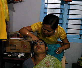 Woman with physical disability in beauty parlour