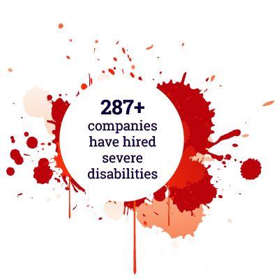 287+ companies have hired severe disabilities