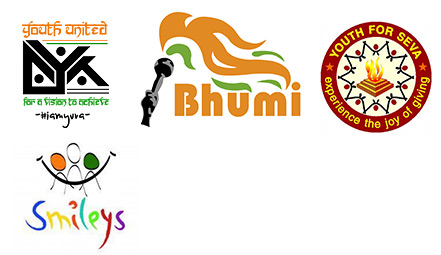 Logos - Yuva, Bhumi, Youth for Seva, Smileys