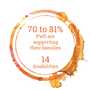 70 to 81% PwD are supporting their families  14 disabilities