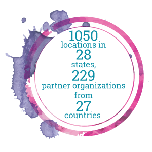 1050 locations in 28 states, 229 partner organizations from 27 countries