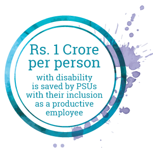 Rs. 1 Croreper personwith disabilityis saved by PSUswith their inclusionas a productiveemployee